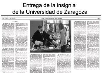 entrega de la insignia de Zaragoza a Iris Campos
