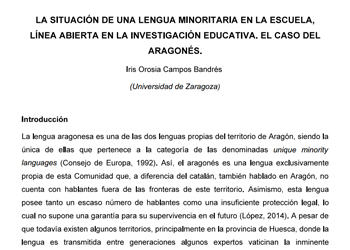 situación de la lengua aragonesa en la escuela
