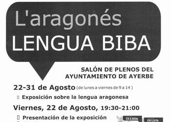 """Charla en el Ayuntamiento de Ayerbe, dentro de la presentación de la exposición """"L'aragonés, lengua biba"""""""