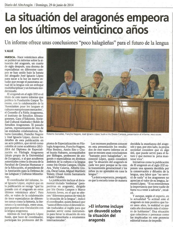 noticia diario alto aragon informe aragones siglo XXI